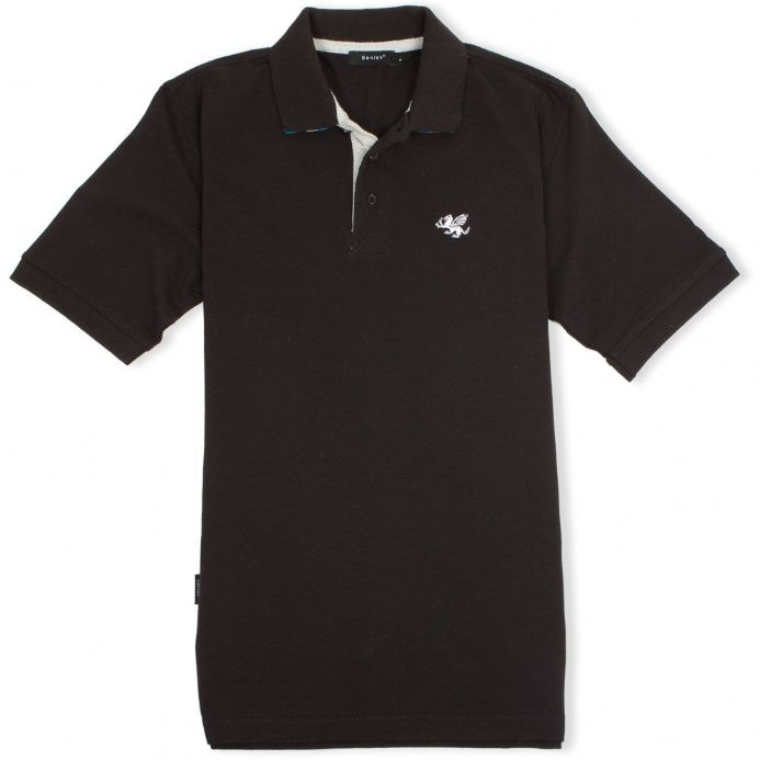 Senlak Striped Under Collar Polo Shirt - Black with Anglo-Saxon White Dragon logo